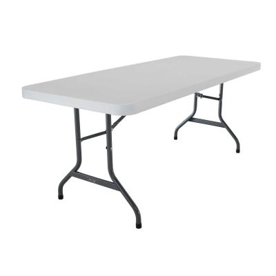 Lifetime 6-Foot Commercial Folding Tables are constructed of high-density polyethylene and are stronger, lighter and more durable than wood. They will not crack, chip or peel, and are built for indoor and outdoor use. The patented steel frame design provides a sturdy foundation and is protected with a powder-coated, weather-resistant finish. Built for the rigors of heavy-duty commercial use, Lifetime Folding Tables exceed challenging BIFMA standards and are backed by a ten-year warranty.  photo