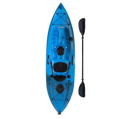 Lifetime Tamarack™ 100 Angler Kayak - The 10 ft. adult kayak has a 275 lb. weight capacity and comes in Azure Fusion. This model is a sit-on-top (SOT) kayak and comes with a padded seat back and seat pad, front and rear shock cords, two 6 in. storage hatches in the rear and center, two flush mounted fishing pole holders, one top mount rod holder, (1) paddlekeeper, and front and rear T-handles. Individually packaged and comes with a paddle and a 5-year limited warranty. photo
