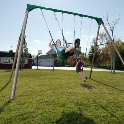 The Lifetime 10-Foot Swing Set is a great option for kids who love to swing for hours. Your children and their friends will fly through the air with the birds, twist on the trapeze like an acrobat, and go on as many adventures as their minds can create. You'll have a hard time bringing your kids in off this one! **This Swing Set is not compatible with the Model 1162119 Belt Swing  photo