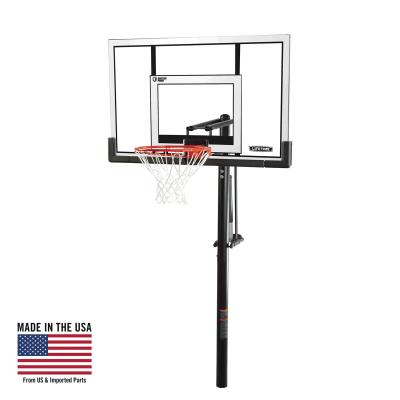 This in-ground basketball system from Lifetime Products features a 52 in. Steel-Framed Shatterproof backboard with a Power Lift® height adjustment mechanism that adjusts from 7.5 to 10 feet high in infinite height increments. The new Clearview Backboard eliminates backboard braces to increase stability and target visibility. It also includes a Slam-It® Rim with an all-weather nylon net and a 3.5 in. diameter round steel pole. So bring the arena to your home with a residential basketball system from Lifetime Products. photo