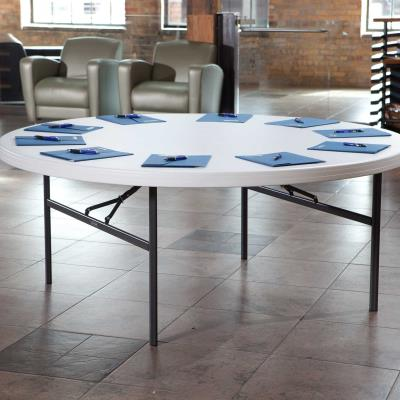 Lifetime combo sets match table and chair models that are known to pair well together. Lifetime 72-Inch Round Commercial Folding Tables are constructed of high-density polyethylene and are stronger, lighter and more durable than wood. They will not crack, chip or peel, and are built for indoor and outdoor use. The patented steel frame design provides a sturdy foundation and is protected with a powder-coated, weather-resistant finish. Perfect for banquets, meetings or large events, Lifetime 72-Inch Round Folding Tables are built for the rigors of demanding commercial use, and exceed challenging BIFMA standards. Lifetime Commercial Folding Chairs are made of high-impact polyethylene, contoured for comfort, and designed for durability. Powder-coated High Strength Low Alloy (HSLA) steel creates a lighter chair with increased strength and stability. Lifetime Folding Chairs are lightweight, easy to clean and can be used indoor or out. The chairs exceeds demanding BIFMA standards and are perfect for your next meeting, event or family gathering. photo