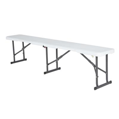 Lifetime 6-Foot Fold-In-Half Bench - The Lifetime 6 ft. (183 cm) Fold-In-Half Bench is constructed of high-density polyethylene (HDPE). Available in white granite with a gray steel frame. 2-year limited warranty.  photo