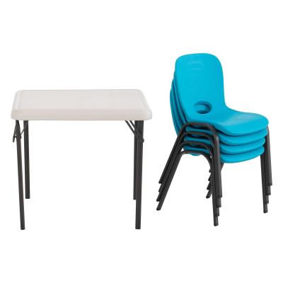 Lifetime Children's Chair and Table Combo - Combo pack of 80472 (blue 4-pack of chairs), and 80425 (almond table). Chair features a blow-molded seat and back with a steel stacking frame (bronze). Table features a blow-molded top and steel folding frame (bronze). This model comes with a 1-year limited warranty. photo