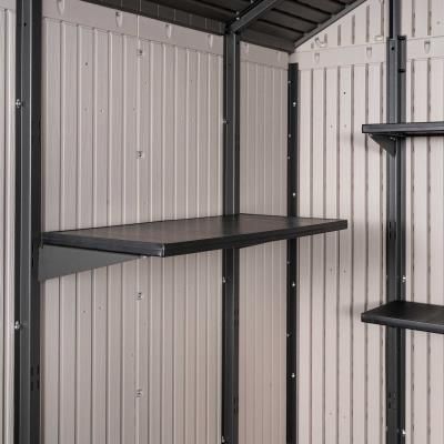 100.4 square ft. (786.6 cubic ft.) - The Lifetime 11 ft. x 11 ft. Shed features: (2) large skylights, (2) shatter-proof polycarbonate windows, (2) screened vents, (2) 30 in. x 14 in. shelves, (5) 30 in. x 10 in. shelves, (2) peg strips, and a 10-year limited warranty. Floor and installation hardware included. Comes in (4) boxes. photo