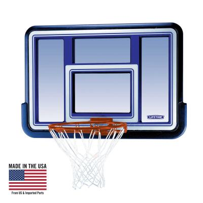 Lifetime's backboard and rim combo sets are a great option for any home. The backboard is polyethylene framed with a polycarbonate playing surface, and can be mounted to a roof, existing pole, or wall with the Lifetime Universal Mounting Kit (sold separately). Bring the game to your home and play the way you want!  photo