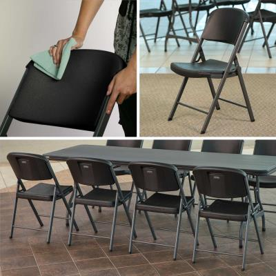 Lifetime Classic Commercial Folding Chair (32-pack) - Features a blow-molded seat and back (black) with a steel folding frame (gray). This model comes as a 32-pack of chairs. 10-year limited warranty. photo