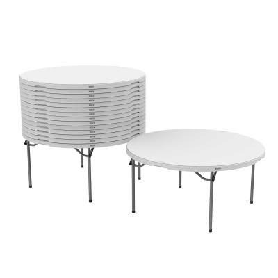 Lifetime 60-Inch Round Commercial Folding Tables are constructed of high-density polyethylene and are stronger, lighter and more durable than wood. The innovative nesting design lets multiple table stack together for space saving storage. They will not crack, chip or peel, and are built for indoor and outdoor use. The patented steel frame design provides a sturdy foundation and is protected with a powder-coated, weather-resistant finish. Perfect for banquets, meetings or events, Lifetime 60-Inch Round Folding Tables are built for the rigors of demanding commercial use and exceed challenging BIFMA standards. photo