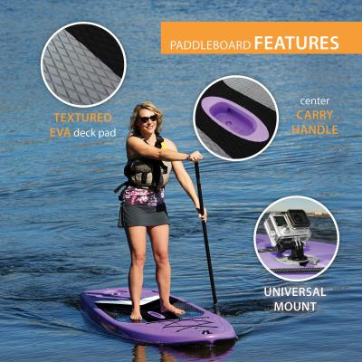 For entry-level and intermediate paddleboarders, the Lifetime Horizon Stand-Up Paddleboard (SUP) provides an affordable, stable, all-around performance SUP. The integrated universal accessory mount lets you take a waterproof camera or speaker wtih you on the water and the EVA deck covering provides great foot traction. The Horizon SUP includes our patented fin design with retracts into the tail section of the board, reducing the risk of breaking your fin while in use, or during storage or transport. A paddle is also included. Constructed of UV-protected high-density polyethylene (HDPE), the paddleboard is strong, durable, and fade resistant. The Lifetime Horizon SUP promises to help you paddle with confidence and style. photo