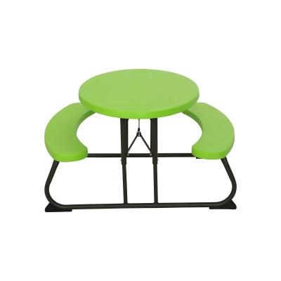Lifetime Children's Oval Picnic Table - The 34 in. x 25 in. high density polyethylene (HDPE) tabletop is stain resistant, easy to clean, and folds flat for storage. This model comes in lime green with a bronze folding frame. Drop-shipped with a 2-year limited warranty. photo