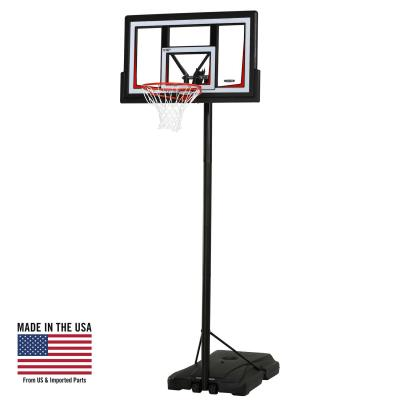Lifetime Portable Basketball System - Features a 50 in. x 30 in. x 2 in. Shatterproof Fusion™ Backboard (black) with frame pad, Quick Adjust® II, 3 in. round pole - 3 piece (black), straight round extension arms, Courtside heavy-duty portable base, and a Slam-It® Rim (orange). photo