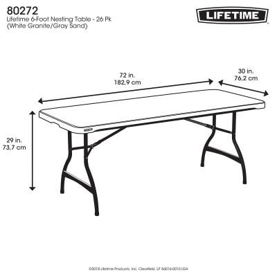 Lifetime 6-Foot Commercial Nesting Folding Table - Features a 72 in. x 30 in. molded tabletop (white granite) with a round folding frame (gray). This table has a nesting design that allows tables to stack together. 10-year limited warranty. photo