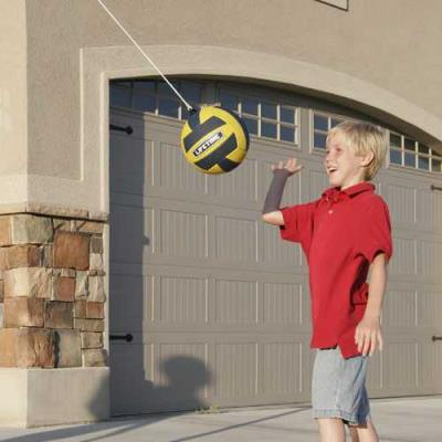 The Portable Tetherball System from Lifetime Products brings another childhood playground game to the convenience and safety of your own backyard. With a soft-touch ball and nylon cord, a heavy-duty portable base, and durable weather-resistant construction, Lifetime's Tetherball System is safe for children and novices, but strong enough to stand up to aggressive play. The portable system easily rolls to any space on the lawn or driveway, and because it doesn't require a cement base, it is easy to store and setup. With the Lifetime Tetherball System, fun is just a swing away. photo