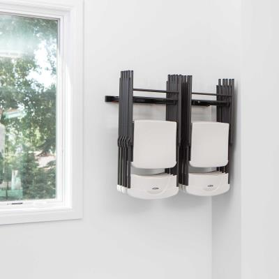 The Lifetime Wall-Mounted Chair Rack is the perfect addition to your home or small business. It holds between 8 - 10 Lifetime Folding Chairs. It is constructed of durable, weather-resistant powder-coated steel. photo