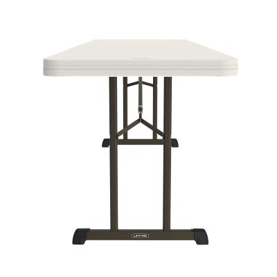 Lifetime 8-Foot Professional Folding Table - Features a thick 96 in. x 30 in. molded tabletop (almond) with a 34 mm x 19 mm oval folding frame (bronze). Lifetime limited warranty. photo