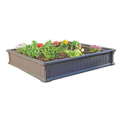 The 4 ft. x 4 ft. Raised Garden Bed from Lifetime Products gives you the perfect garden setup in in less than one hour. It is constructed of uv-protected high-density polyethyene (HDPE) with a simulated wood design. It is low maintenance, weather resistant, and will not rot, crack, or peel. The walls are 9 inches high, but two beds can be stacked together to create 18-inch walls to accommodate deep rooted plants. With its easy do-it-yourself assembly and low maintenance features, gardening has never been this easy. photo