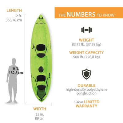 The Lifetime Spitfire™ 12T Kayak has the stability and performance of a smaller kayak with added features and upgrades, taking kayaking to the next level. This tandem kayak is stable for play time and has amazing speed and tracking to get you to your destination. The quick release CRS + UltraLite Seats, Freedom Footwells to fit any size paddler, center hatch for storage, rear tankwell with Cargo Net Lacing System, and innovative Easy Roll Skeg Wheel makes this the perfect kayak for a day on the water. We've thought of it all! photo
