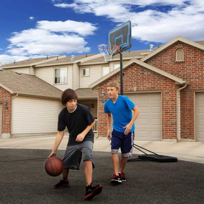 This portable basketball system from Lifetime Products features a 44 in. Impact® backboard with a telescoping height adjustment that adjusts from 7.5 to 10 feet high. It also includes a Streamline Rim with an all-weather nylon net and a 2.75 in. diameter round steel pole. With a streamline 12-gallon portable base, this system is the perfect beginner residential basketball system. photo