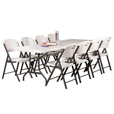 Lifetime 8-Foot Commercial Folding Tables are constructed of high-density polyethylene and are stronger, lighter, and more durable than wood. They will not crack, chip, or peel, and are built for indoor and outdoor use. The patented steel frame design provides a sturdy foundation and is protected with a powder-coated weather-resistant finish. Built for the rigors of demanding commercial use, Lifetime Folding Tables exceed challenging BIFMA standards and are perfect for your next banquet, event, or group gathering. photo