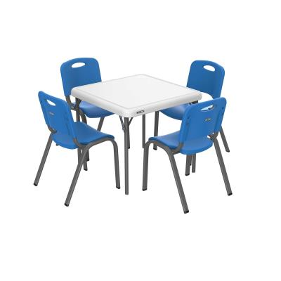 Lifetime Commercial Children's Chair and Table Combo - Combo pack of 80533 (blue 4-pack of chairs), and 80534 (white granite table). Chair features a blow-molded seat and back with a steel stacking frame (gray). Table features a blow-molded top and steel folding frame (gray). This model comes with a 1o-year limited warranty. photo