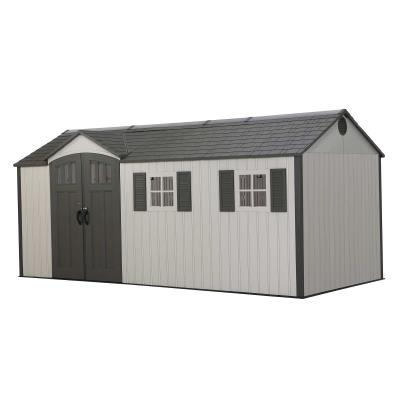 Lifetime's 8-foot wide Outdoor Storage Sheds are the perfect solution to your storage needs. Built with durable, dual-wall high-density polyethylene, our sheds are steel-reinforced and low-maintenance. With various features including shatter proof windows, skylights, custom shelving, and much more, a Lifetime Shed is the perfect addition to your backyard. photo