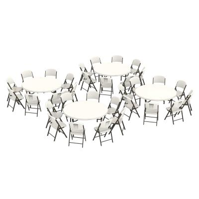 Lifetime 4 60 Inch Round Stacking Table And 32 Chair Combo Commercial