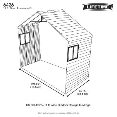 With the Lifetime Outdoor Storage Shed Extension Kit, you can add extra space to your existing Lifetime Shed. The Extension Kit was designed to provide you with an easy way to get more storage without having to invest in a new shed. Whether you are in need of more shelving, space for a lawn mower, or just looking to store more tools, this kit is the perfect option. The Shed Extension Kit adds 60 inches of length to your shed and includes wall panels, roof panels, floor panels, and all the necessary hardware for installation. With this extension, you get the same durable and low maintenance design to keep your shed looking stylish and clean on top of the additional utility. You get the same UV protected walls, slip resistant floors, and high pitched roof to protect against the elements. Maintain the great attractive appearance and design of your shed while expanding your storage space with the Lifetime Extension Kit.  photo