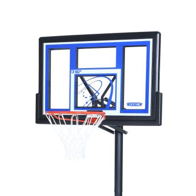 Lifetime's portable basketball hoops are the perfect option for beginning and seasoned players alike! The portable base and adjusting pole make it easy for you to put the hoop in the perfect spot in your yard or driveway. The rim adjusts from 8 to 10 feet with a broomstick, so everyone can play. The backboard is made of polycarbonate, providing a great rebounding and playing surface. Enjoy hours of fun with friends and family in the comfort of your own home! photo