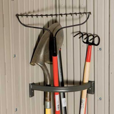 Tool Corral Accessory-  Fits all 8-foot, 10-foot, and 15-foot wide Lifetime storage buildings with horizontal siding. Not compatible with sheds with vertical siding or any sizes not specified here. photo