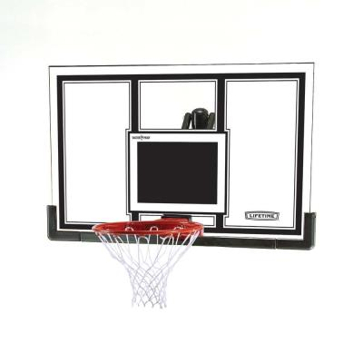 Lifetime's backboard and rim combo sets are a great option for any home. The backboard is steel framed with a polycarbonate playing surface, and can be mounted to a roof, existing pole, or wall with the Lifetime Universal Mounting Kit (sold separately). Bring the game to your home and play the way you want!  photo
