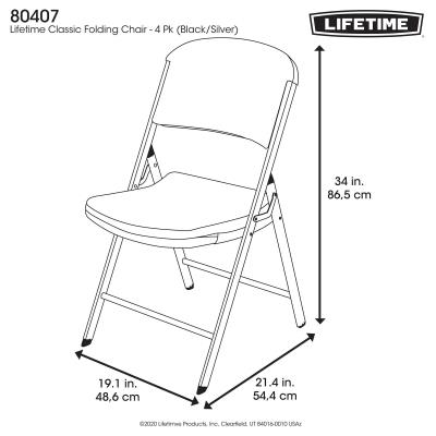 Lifetime Classic Commercial Folding Chair (4-pack) - Features a blow-molded seat and back (black) with a steel folding frame (silver). This model comes as a 4-pack with a 10-year limited warranty. photo
