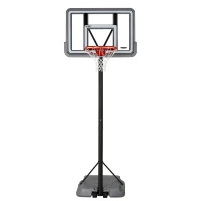 Lifetime Portable Basketball System - Features a 44 in. x 30 in. x 2 in. Shatterproof Fusion® Backboard (gray), 2.75 in. round telescoping pole - 3 piece (black), Pro Court portable base (gray), and a Classic Rim (orange). photo
